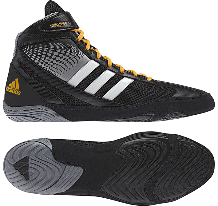 Adidas Response 3.1 Wrestling Shoes, color:BlackGreyWhite