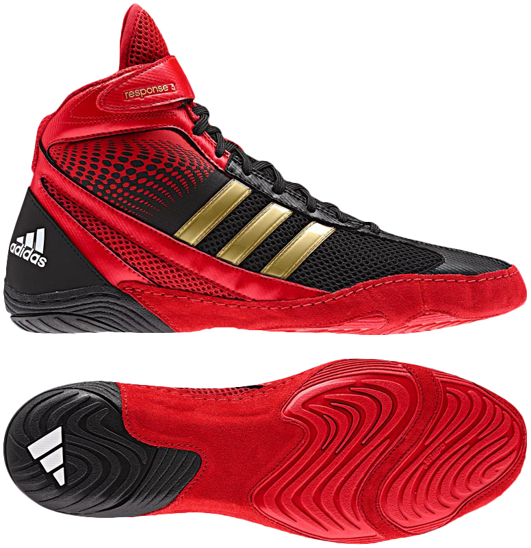 Adidas Response   Wrestling Shoes Silver Red Black